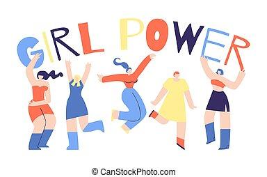 平ら, afflation, 力, ポスター, 特徴, デザイン, 女の子