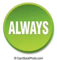 平ら, always, ボタン, 隔離された, 緑, 押し, ラウンド