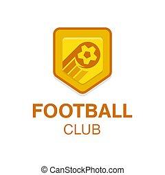 平ら, badge., フットボール, イラスト, ベクトル, デザイン, ロゴ, サッカー, style.