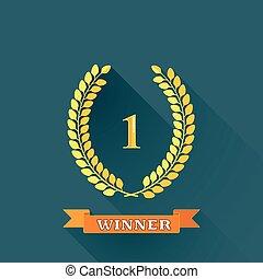 平ら, banner., 花輪, 勝者, イラスト, 1, ベクトル, デザイン, 長い間, 月桂樹, オレンジ, 場所, 影