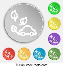 平ら, buttons., eco, 自動車, 印。, ベクトル, 8, シンボル, アイコン