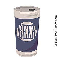 平ら, can., 隔離された, イラスト, ビール, ベクトル, 背景, 白