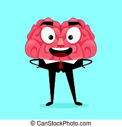 平ら, character., イラスト, 脳, ベクトル, ビジネスマン, 微笑, 漫画, 幸せ