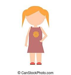 平ら, character., ベクトル, デザイン, 子供, 女の子, standing.