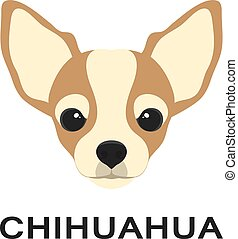 平ら, chihuahua, og, 犬, イラスト, ベクトル, icon., style.