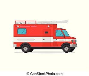 平ら, clipart, 緊急事態, イラスト, 火, firetruck, 隔離された, ベクトル, トラック, 車, 白, 漫画