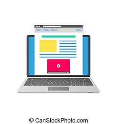 平ら, concept., イラスト, ベクトル, デザイン, blogging