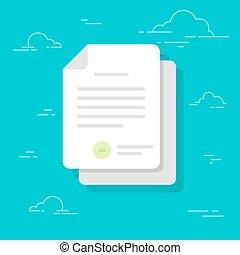 平ら, confirmed, 文書, 色, 山, 隔離された, イラスト, ∥あるいは∥, バックグラウンド。, ペーパー, sheets., icon., 公認, document.