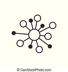 平ら, dna, ネットワーク, ハブ, concept., 分子, 隔離された, イラスト, 印, ビジネス, バックグラウンド。, 接続, ベクトル, 原子, 白, style., アイコン