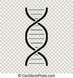 平ら, dna, illustration., 分子, medecine, ベクトル, icon.