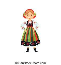 平ら, dress., 朗らかである, 国民, character., 漫画, 伝統的である, ベクトル, デザイン, 女性, ポーランド語, costume., 女の子, 人々