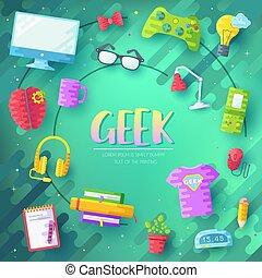 平ら, echnology, のまわり, オフィスアイコン, set., それ, ベクトル, 仕事場, イラスト, 専門家, concept., geeks, デベロッパー