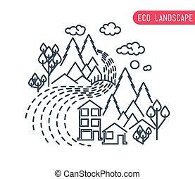平ら, eco, 薄くなりなさい, 背景, 田園, 線, デザイン, 風景