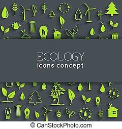平ら, eco, concept., イラスト, ベクトル, デザイン, 背景