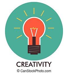平ら, elements., ライト, concept., デザイン, creativity., 線, アイコン, bulb., icon., design.