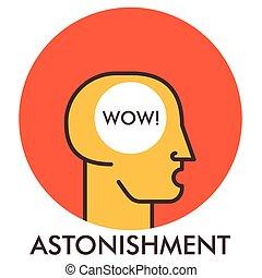 平ら, elements., astonishment., concept., wow., デザイン, 線, アイコン, icon., design.