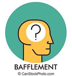 平ら, elements., bafflement., concept., 質問, デザイン, icon., 線, アイコン, mark., design.
