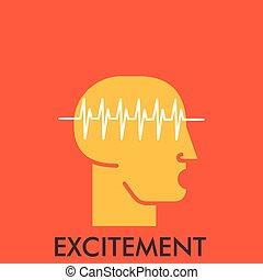 平ら, elements., concept., excitement., デザイン, 線, アイコン, icon., design.