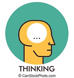 平ら, elements., thinking., concept., デザイン, 線, アイコン, icon., design.
