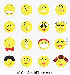 平ら, emoticons, カラフルである