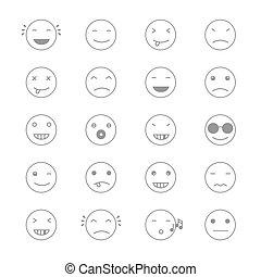 平ら, emoticons, セット, emoticons., emoji., collection., 別, イラスト, ベクトル, モノクローム, style.