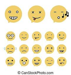 平ら, emoticons, セット, emoticons., emoji., collection., 別, イラスト, ベクトル, style.
