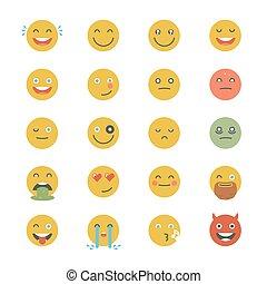 平ら, emoticons, セット, emoticons., emoji., collection., 別, icons., 顔, ベクトル, モノクローム, 微笑, style.