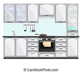 平ら, equipment., イラスト, ベクトル, 内部, 家具, 台所