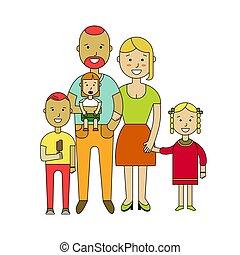 平ら, family., イラスト, ベクトル, デザイン, 幸せ