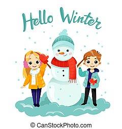平ら, field., 子供, 2, 雪だるま, style., 作成