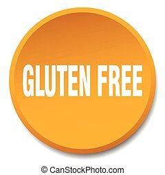 平ら, gluten, ボタン, 隔離された, 無料で, オレンジ, 押し, ラウンド