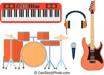 平ら, group., アイコン, 道具, ヘッドホン, シンセサイザ, ミュージカル, ギター, ベクトル, band., イラスト, ドラム, デザイン, マイクロフォン