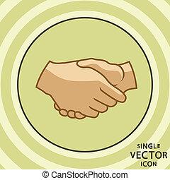 平ら, handshake., 色, 単一, ベクトル, icon.