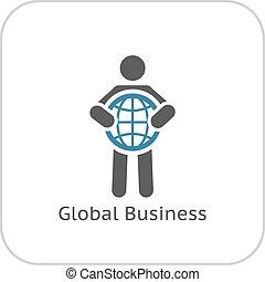 平ら, icon., グローバルなビジネス, design.