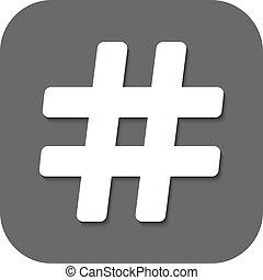 平ら, icon., ハッシュ料理, シンボル。, hashtag