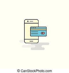 平ら, icon., ベクトル, オンライン 銀行業