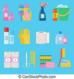 平ら, icons., 衛生, ベクトル, プロダクト, 清掃