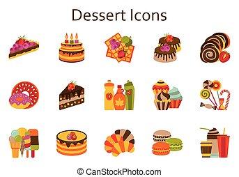 平ら, illustration., アイコン, 食物, 甘い, set., ベクトル, デザート, collection.