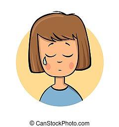 平ら, illustration., カラフルである, バックグラウンド。, 隔離された, 漫画, girl., ベクトル, デザイン, 叫ぶこと, 白, icon.