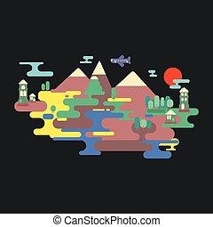 平ら, illustration., カラフルである, 夏, 自然, ベクトル, 風景