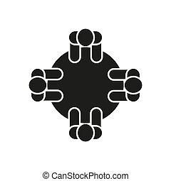 平ら, illustration., コミュニケーション, 議論, -, シンボル。, ベクトル, ミーティング, icon., design., セミナー, 株