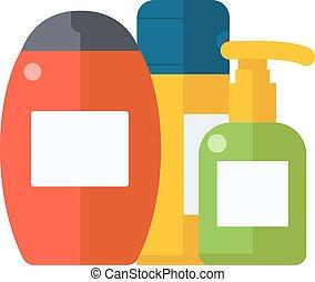 平ら, illustration., シャンプー, 化粧品, 包装, プラスチック, シャワー, ベクトル, びん,...
