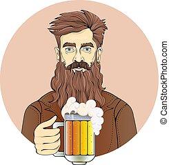 平ら, illustration., セピア, 隔離された, ビール, ベクトル, ひげ, 背景, 保有物, 肖像画, 白, 人, mug., tint., 円