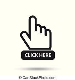 平ら, illustration., ボタン, ここに, 手, カーソル, ベクトル, 黒, icon., クリック, signs.