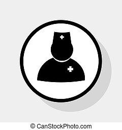 平ら, illustration., 医者, 円, 印, バックグラウンド。, 灰色, 黒, vector., 影, 白, アイコン