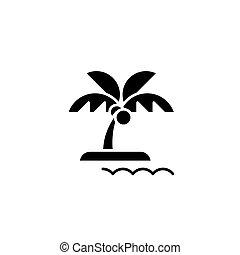 平ら, illustration., 印, 島, concept., シンボル, ベクトル, 黒, アイコン