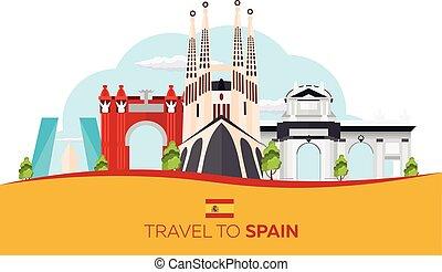 平ら, illustration., 旅行, ベクトル, familia., sagrada, skyline., スペイン