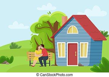 平ら, illustration., 景色。, 田舎, 恋人, ベンチ, ベクトル, 村, 接吻, cottage., 情事