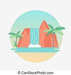 平ら, illustration., 木。, 滝, トロピカル, ベクトル, やし
