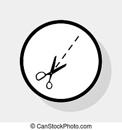 平ら, illustration., 灰色, 印, バックグラウンド。, 円, 黒, vector., はさみ, 影, 白, アイコン